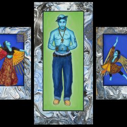 "Exodus #8 ""Tupac & Company"" Triptych paintings: Gouache & gold leaf on matt board on wood panel. Size: 56"" x 36"" Silk/canvas banner Size: 104"" x 84"" 2017"