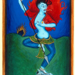 "Finding Home #44 ""Yogini"" 9"" x 5"" Gouache on paper 2000 :: SOLD"