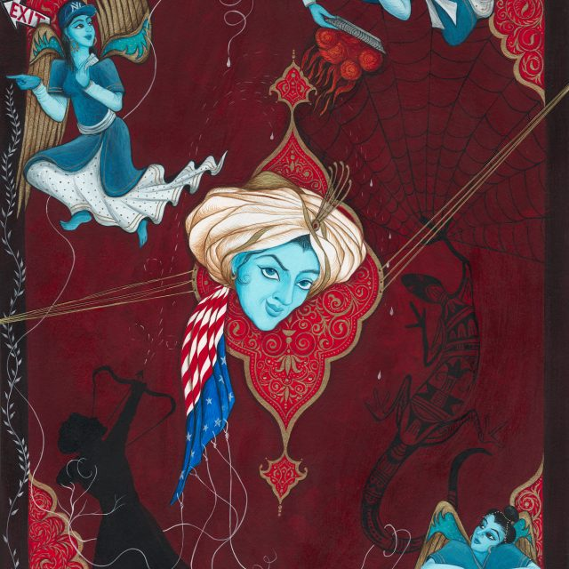 """Finding Home #87 """"Lilith"""" 23"""" x 18"""" Gouache and mixed media on museum board 2008"""