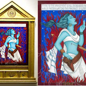 """Finding Home #80 (Fereshteh) """"Lilith"""" 38"""" x 26"""" Gouache and 22K gold leaf on panel 2006"""