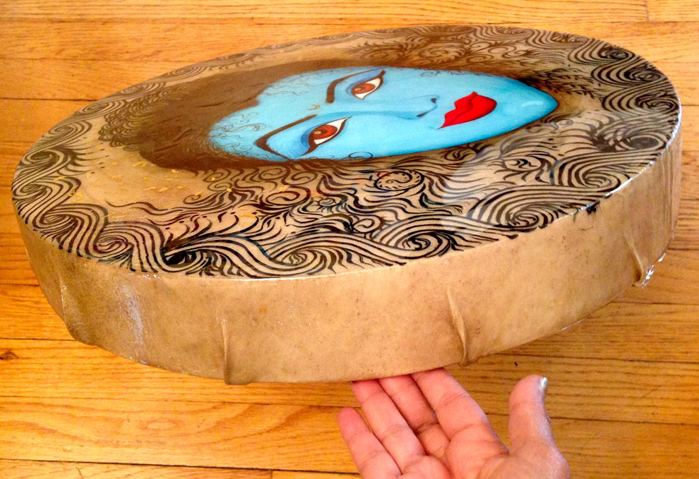 Mixed media paintings on vellum drums for Burning Man