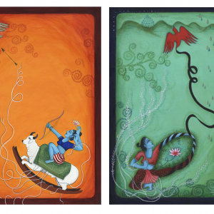 "Finding Home #97, 98 (Fereshteh) 17"" x 12"" Gouache on paper 2008 SOLD AS A DIPTYCH"