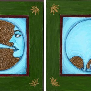 "Finding Home #101 (Fereshteh) ""The Utter Impossibility of Being Consumed by One's Own Blueness"" 6"" x 20"" Gouache and 22K gold leaf on wood panel"