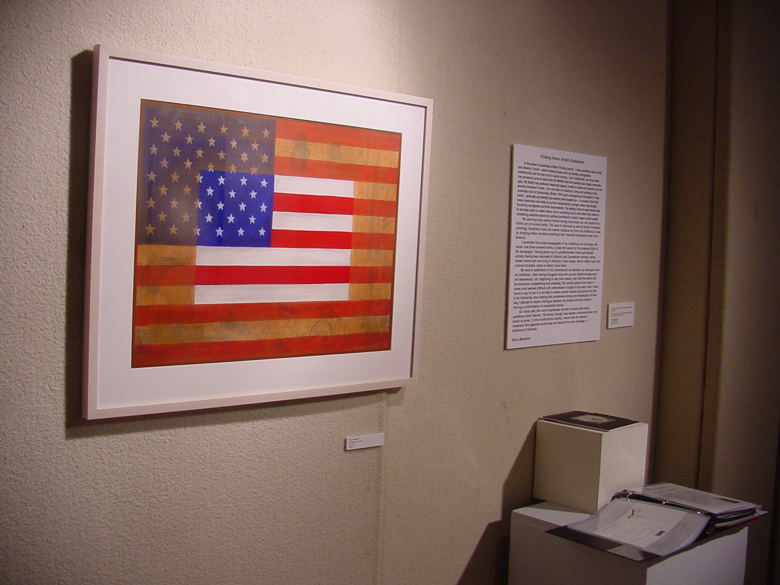 "My America, 28"" x 34 Flag painting, Mixed Media 2001"