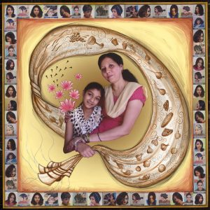 """Fulbright Series #29, Siyona Diane Jonah Rohekar, 35"""" X 35"""" Photo-collages with gouache and acrylic paint on Hahnemuhle paper 2012-2013"""
