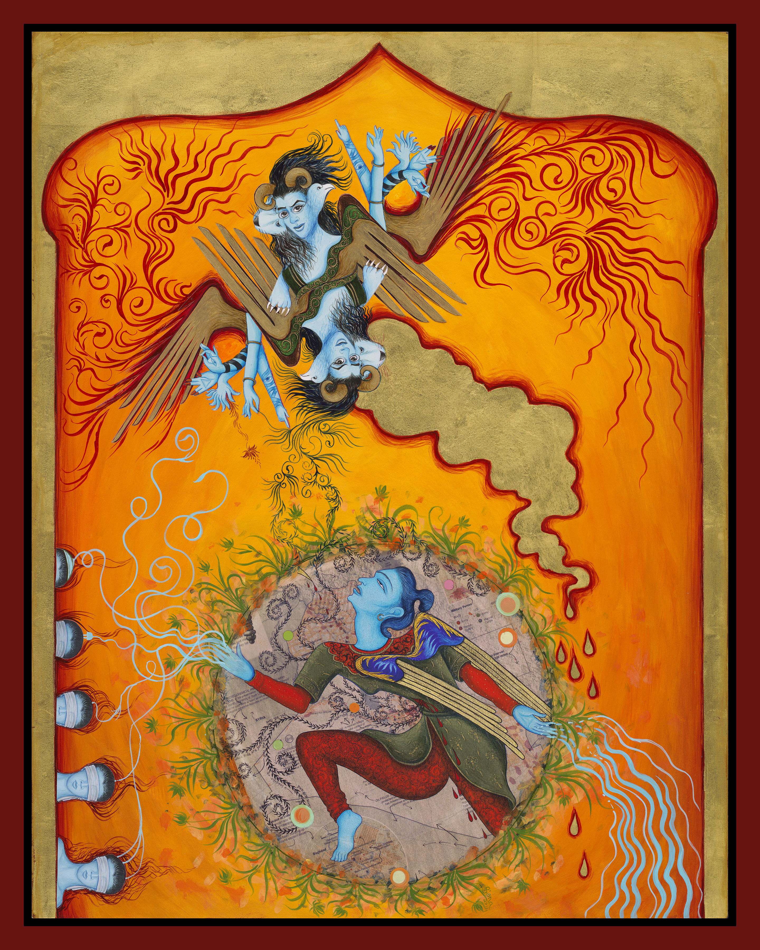 "Bridging Pardes Work created for traveling exhibit. 30"" x 24"" Gouache, mixed media and 22 K gold leaf on wood panel - 2014"