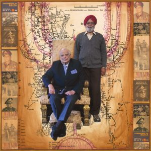 """Fulbright Series #12- Lt General Jack Jacob (and Pal Singh Gill, his lifelong assistant) 35"""" x 35"""" Photo-collages with gouache and acrylic paint on Hahnemuhle paper 2012-2013"""