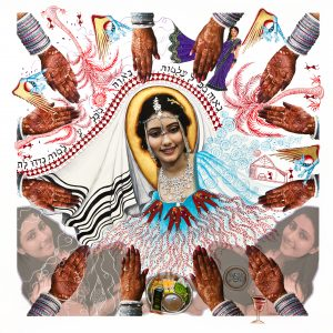 """Fulbright Series #9- Indian Jewish Bride (Karen Simon Borgawkar) 35"""" x 35"""" Photo-collages with gouache and acrylic paint on Hahnemuhle paper 2011"""