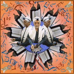 """Fulbright Series #17- Moses Abraham (Phansapurkar) 35"""" x 35"""" Photo-collages with gouache and acrylic paint on Hahnemuhle paper 2012-2013"""