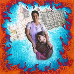 """Fulbright Series #13- Mozel and Monica Moses (Pugaonkar) 35"""" x 35"""" Photo-collages with gouache and acrylic paint on Hahnemuhle paper 2012-2013"""