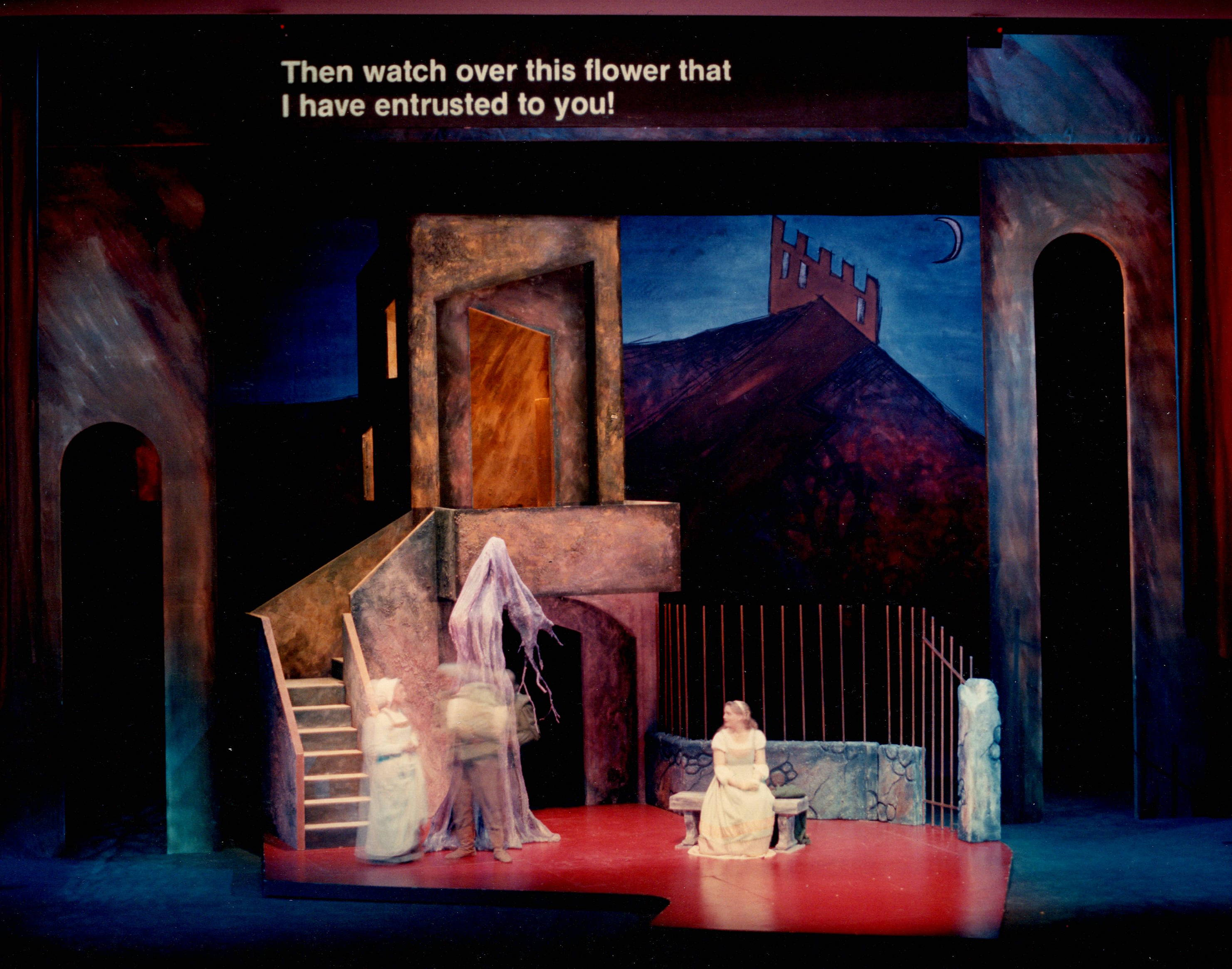 Set Act 1 Scene 2 - Rigoletto by Guiseppe Verdi at the Illinois Opera Theater - Krannert Center for the Performing Arts at University of Illinois (Urbana/Champaign)