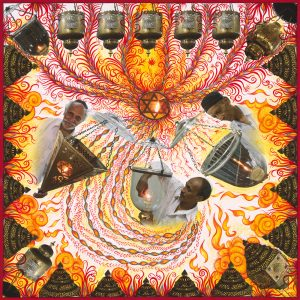 "Fulbright Series #18- Solomon Haeem (Penkar), Emanuel (Emu) Samson (Chandgawkar), Elkan David (Shirgawkar) - Shamash lamplighters for synagogues in Mumbai35"" x 35"" Photo-collages with gouache and acrylic paint on Hahnemuhle paper 2012-2013"
