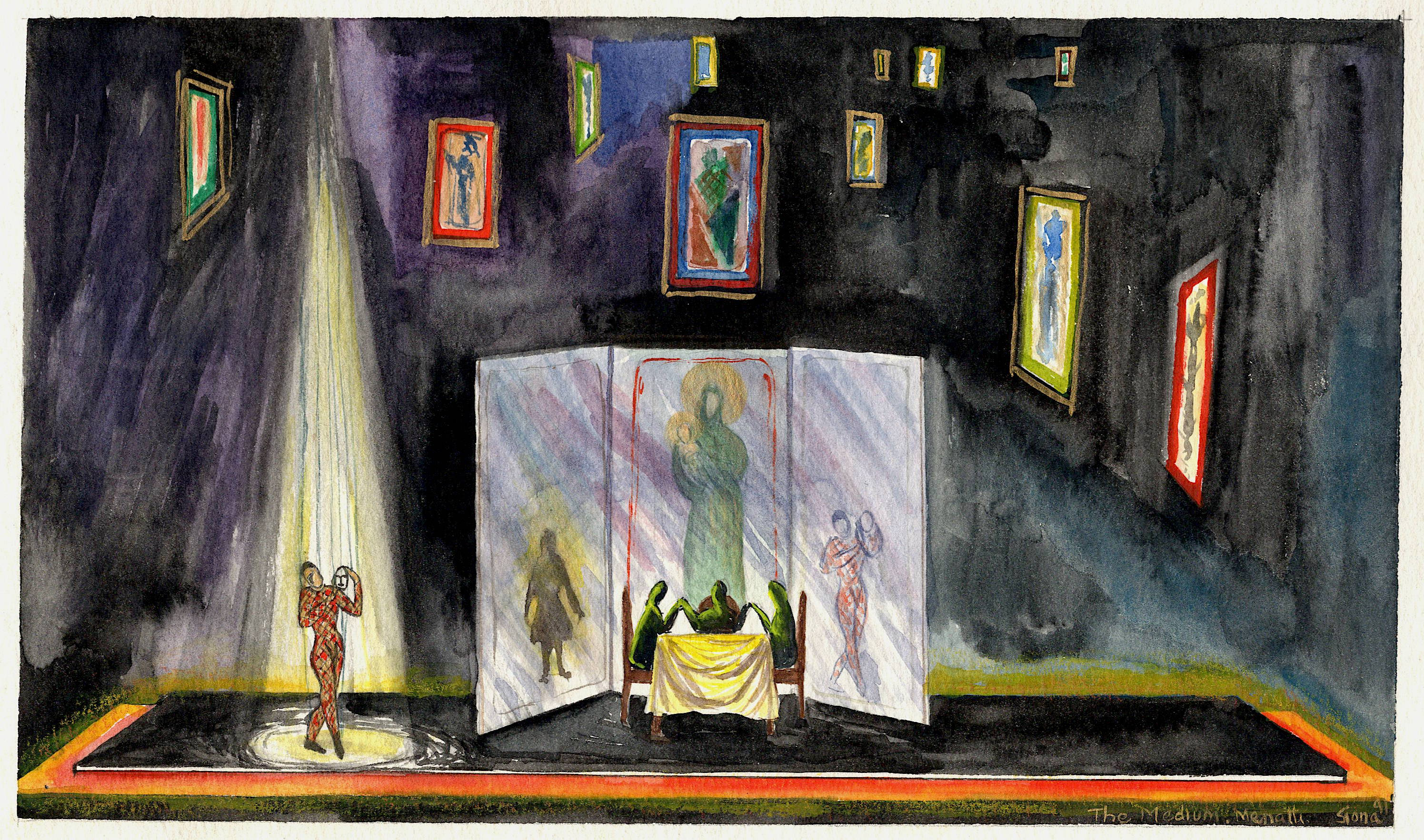 The Medium by Gian Carlo Menotti - Set design renderings - 2