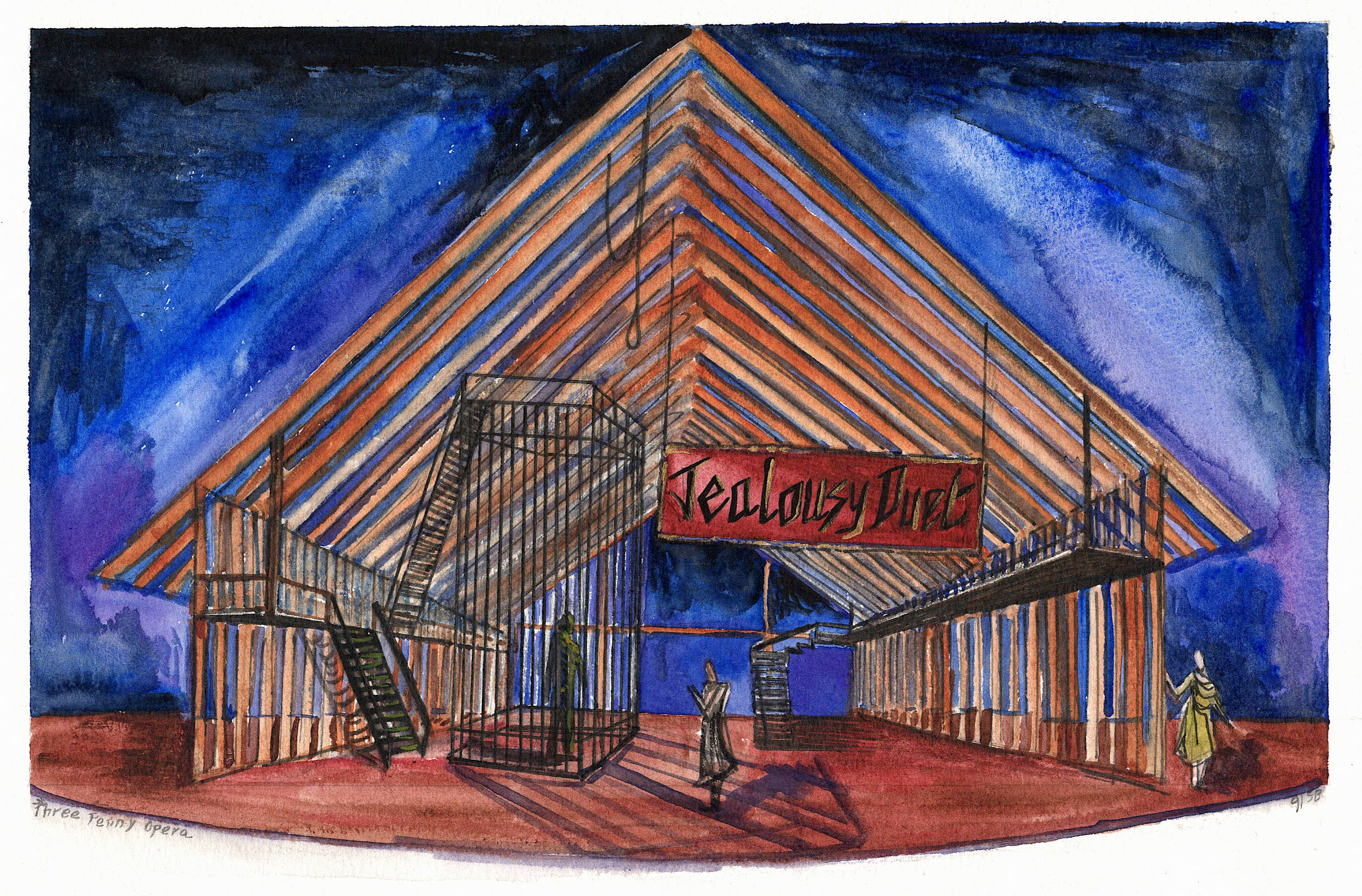 The Three Penny Opera by BertoltBrecht - Model and Set design renderings - 1