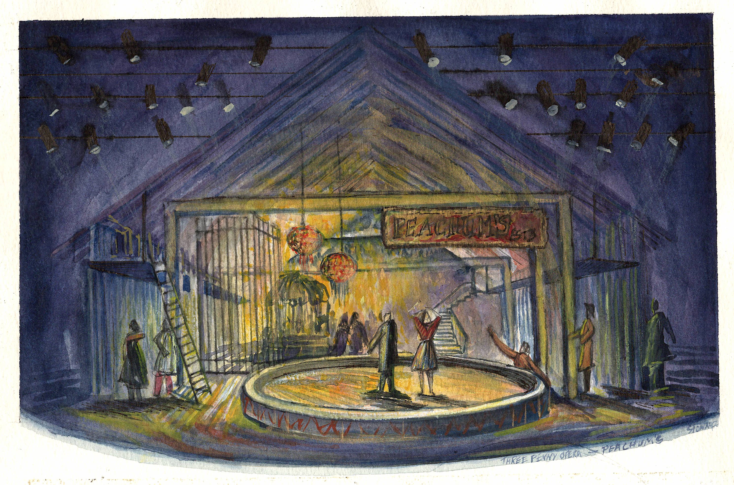The Three Penny Opera by BertoltBrecht - Model and Set design renderings - 2