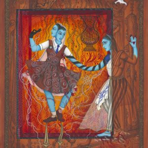"""Finding Home #81 (Fereshteh) """"Leah and Rachel"""" 25"""" x 20"""" Gouache and 22K gold leaf on board 2006 :: SOLD"""