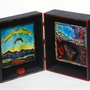 "Landscape Box Enamel on steel and mixed media 10"" x 10"" x 5"" 1996"