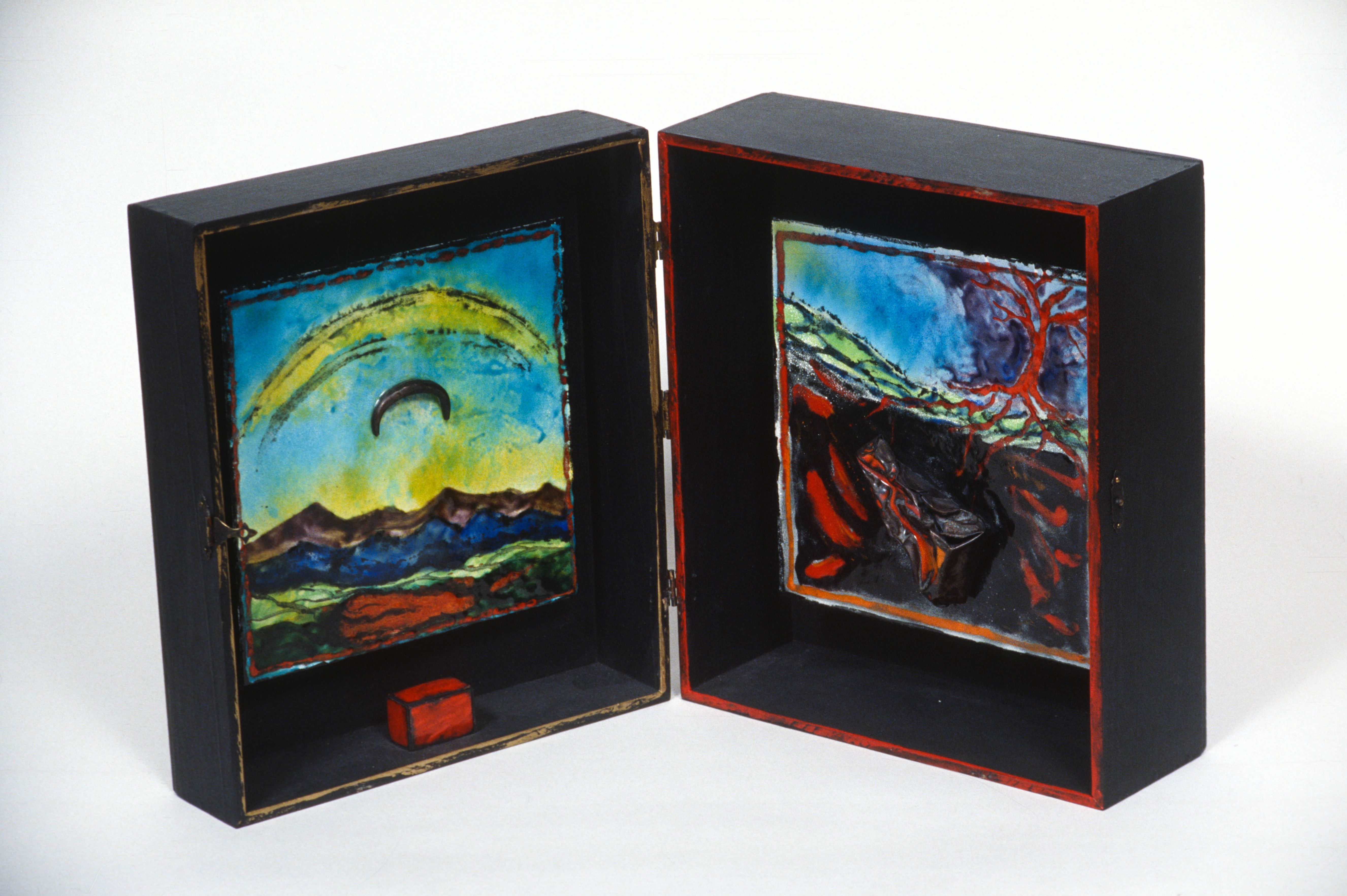 "Landscape Box Enamel on steel and mixed media 10"" x 10"" x 5"" 1996"