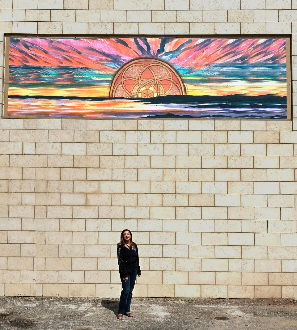 "Sunrise"" mural on Montclair Hotel by Siona Benjamin"