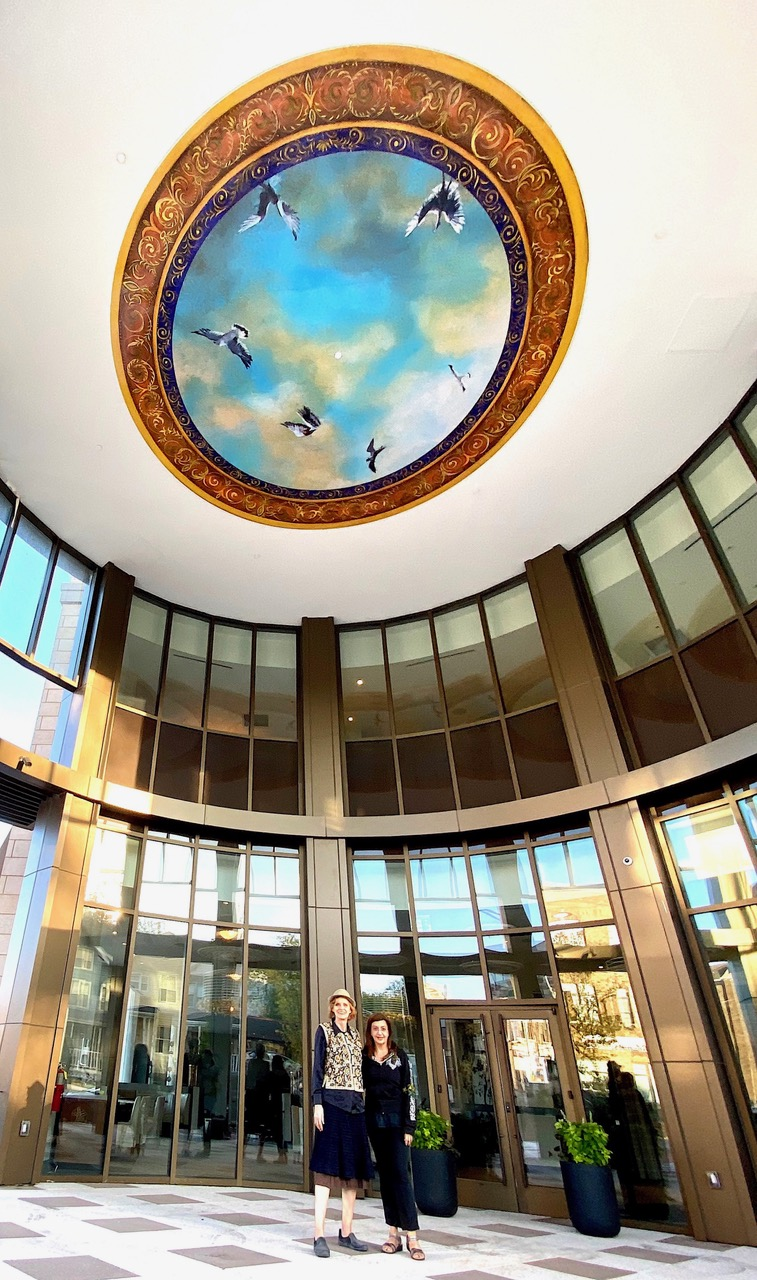 """Sky"" Rotunda mural Artists in collaboration: Yvonne Verwer and Siona Benjamin"