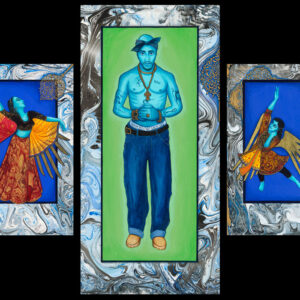 """Exodus #8 """"Tupac & Company"""" Triptych paintings: Gouache & gold leaf on matt board on wood panel. Size: 56"""" x 36"""" Silk/canvas banner Size: 104"""" x 84"""" 2017"""