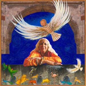 """Fulbright Series #19 Esther David (Dandekar) 35"""" x 35"""" Photo-collages with gouache and acrylic paint on Hahnemuhle paper 2012-2013"""