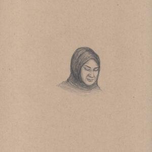 """Exodus portrait #39 Pencil on paper 9"""" x 12"""" 2016-17"""