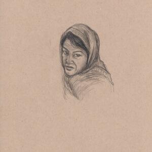 """Exodus portrait #46 Pencil on paper 9"""" x 12"""" 2016-17"""