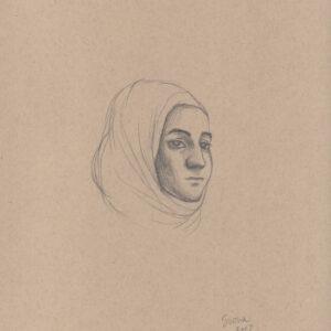 """Exodus portrait #47 Pencil on paper 9"""" x 12"""" 2016-17"""