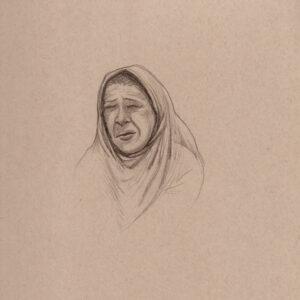 """Exodus portrait #1 Pencil on paper 9"""" x 12"""" 2016-17"""