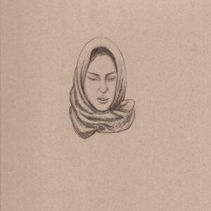 """Exodus portrait #11 Pencil on paper 9"""" x 12"""" 2016-17"""