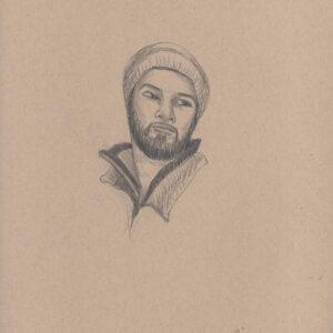 """Exodus portrait #19 Pencil on paper 9"""" x 12"""" 2016-17"""