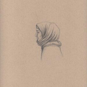 """Exodus portrait #29 Pencil on paper 9"""" x 12"""" 2016-17"""