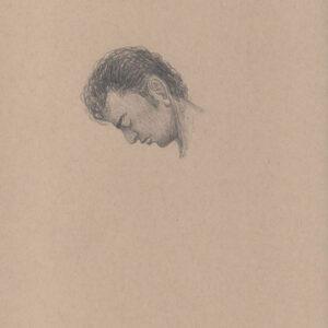 """Exodus portrait #34 Pencil on paper 9"""" x 12"""" 2016-17"""