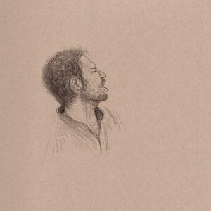 """Exodus Portrait #8 Pencil on paper 9"""" x 12"""" 2016-17"""