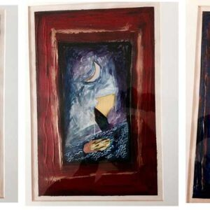 """Finding Home #1, 2 & 3 11"""" x 17"""" Gouache and silver leaf on paper 1995 SOLD AS TRIPTYCH"""