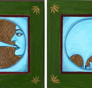 """Finding Home #101 (Fereshteh) """"The Utter Impossibility of Being Consumed by One's Own Blueness"""" 6"""" x 20"""" Gouache and 22K gold leaf on wood panel"""