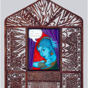 """Finding Home #102 """"Lilith"""" 46"""" x 57"""" x 3"""" Gouache and 22K gold leaf on wood panel and mixed media collaboration frame with Shifaz Usman 2009"""