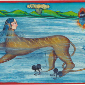 """Finding Home # 29 16"""" x 22"""" Gouache and 22 K gold leaf on paper 1999"""