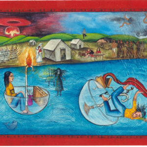 """Finding Home #37 """"The Journey"""" 14"""" x 40"""" Gouache on paper 2000 :: SOLD"""