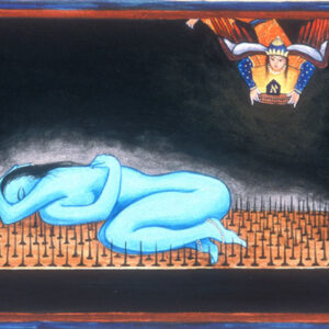 """Finding Home #43 """"Yogini"""" 9"""" x 5"""" Gouache on paper 2000"""