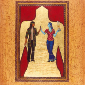 """Finding Home #47 """"Learning about America"""" 30"""" x 23"""" Gouache and 22K gold leaf on paper 2001 :: SOLD"""