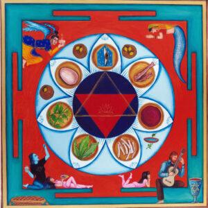 "Finding Home #50 ""Seder Mandala"" 22"" x 22"" Gouache on paper 2001"