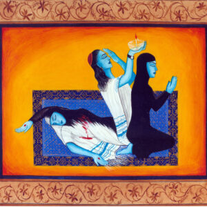 """Finding Home #51 """"Namaz"""" 14"""" x 11"""" Gouache on paper 2001 :: SOLD"""