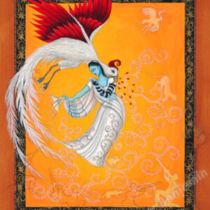 """Finding Home #76 (Fereshteh) """"Tziporah"""" 15"""" x 12"""" Gouache and 22K gold leaf on paper 2006 :: SOLD"""
