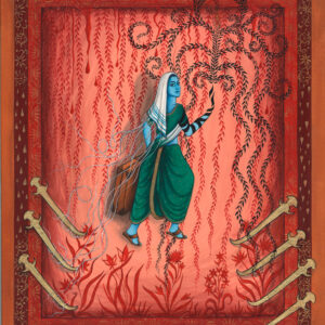 """Finding Home #77 (Fereshteh) """"Miriam"""" 15"""" x 12"""" Gouache and 22K gold leaf on paper 2006"""