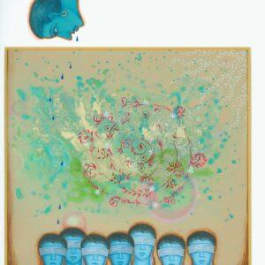 "Improvisation #9 10"" x 10"" Gouache on mylar 2011"